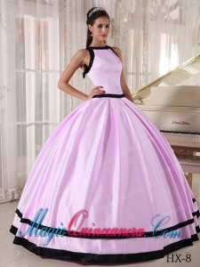 Bateau Floor-length Satin Best Quinceanera Dress in Baby Pink and Black