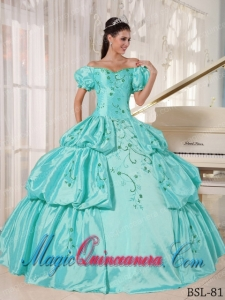 Beautiful Ball Gown Off The Shoulder Floor-length Taffeta Embroidery Quinceanera Dress