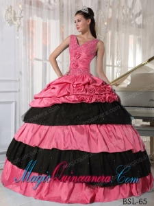 Beautiful Ball Gown Watermelon and Black in Taffeta Beading Quinceanera Dress