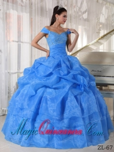 Beautiful Blue Ball Gown Off The Shoulder Floor-length Taffeta and Organza Beading Quinceanera Dress