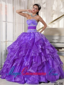Beautiful Strapless Ball Gown Floor-length Organza Appliques Quinceanera Dress