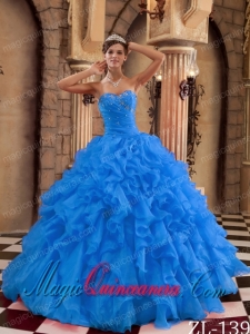 Blue Ball Gown Sweetheart Floor-length Ruffles Organza Cute Quinceanera Dress