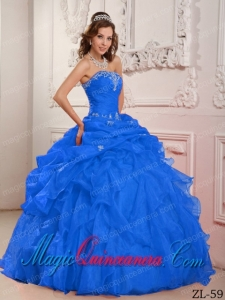 Blue Strapless Floor-length Organza Beading And Ruffles Best Quinceanera Dress
