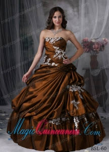Cheap Brown Ball Gown Strapless Taffeta Quinceanera Dress with ...
