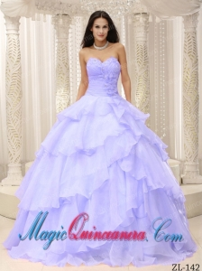 Cheap Ruched Bodice Hand Made Flowers Decorate Waist Quinceanera Dress in Lilac