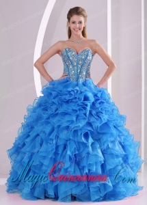 Cheap Ruffles and Beaded Sweetheart Long Quinceanera Dresses with Lace Up