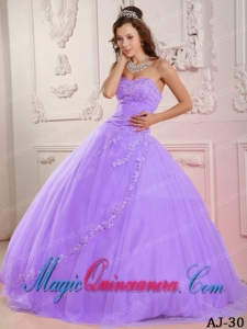 Classic Quinceanera Gowns Ball Gown Sweetheart Floor-length Tulle Appliques In Lavender