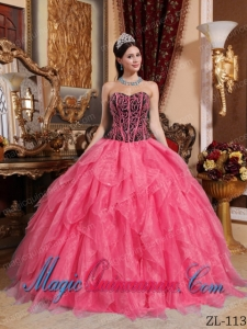 Coral Red and Black Sweetheart Cheap Quinceanera Dress with Embroidery and Beading