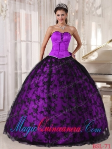 Exclusive Ball Gown Sweetheart Lace Purple and Black Quinceanera Dress