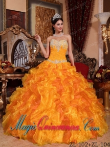 Golden Ball Gown Sweetheart Floor-length Organza Appliques and Beading Cute Quinceanera Dress
