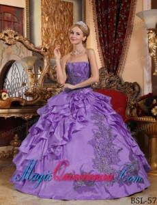 Lavender Ball Gown Strapless Floor-length Taffeta Appliques Cute Quinceanera Dress