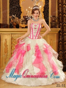 Multi-Color Ball Gown Sweetheart Organza Appliques Best Quinceanera Dress