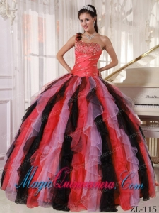 Multi-colored Best One Shoulder Organza Beading and Ruffles Quinceanera Dress