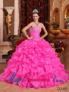 Rose Pink Ball Gown Strapless Floor-length Organza Beading and Appliques Cute Quinceanera Dress
