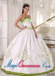 Strapless Cheap White and Olive Green Quinceanera Dress with Embroidery