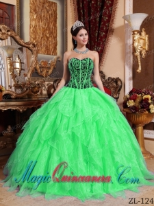 Sweetheart Embroidery with Beading Best Quinceanera Dress in Spring Green and Black