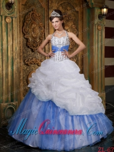 White and Baby Blue A-line / Princess Halter Floor-length Beading Cute Quinceanera Dress