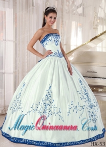 White and Blue Strapless Floor-length Embroidery Best Quinceanera Dress