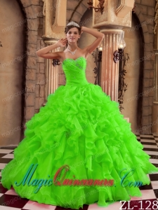 Wonderful Spring Green Ball Gown Sweetheart Quinceanera Dresses