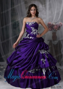 A Beautiful Ball Gown Strapless With Taffeta Appliques Discount Quinceanera Dresses