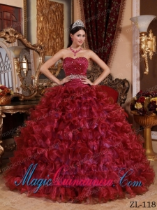 Ball Gown Sweetheart Floor-length Organza Beading Best Quinceanera Dress in Wine Red
