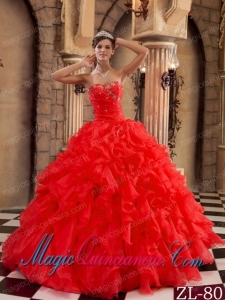 Ball Gown Sweetheart Ruffles Red Organza Best Quinceanera Dress with Beading