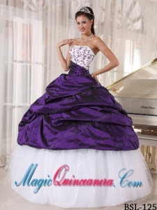 Beautiful Ball Gown Strapless White and Purple Embroidery Dramatic Quinceanera Dress