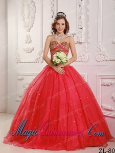 Beautiful Coral Red A-Line Sweetheart Beading Quinceanera Dress