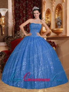 Blue Sweetheart Ball Gown Cheap Beading Quinceanera Dress