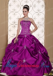 Discount Quinceanera Dresses Embroidery Taffeta Strapless Modest with Pick-ups
