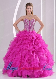 Elegant Pretty Sweetheart Ruffles and Beaded Decorate 2014 Hot Pink Quinceanera Gowns