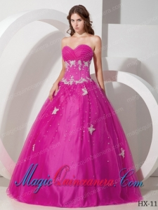 Elegant Sweetheart Tulle Appliques and Beading Quinceanera Dress in Fuchsia