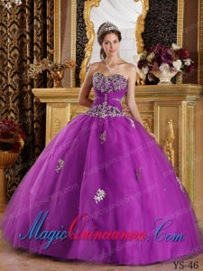 Fuchsia Ball Gown Sweetheart Floor-length Appliques Tulle Cute Quinceanera Dress