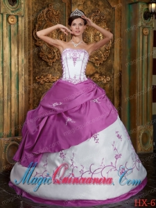 Fuchsia and White Cheap Strapless Embroidery Satin Quinceanera Dress