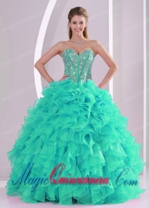 Gorgeous Ball Gown Sweetheart Ruffles and Beaded Quinceanera Gowns in Turquoise