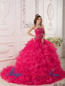 Hot Pink Ball Gown Strapless Ruffles And Embroidery Elegant Quinceanera Dresses