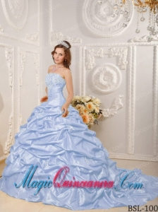 Lilac Ball Gown Strapless Court Train With Appliques and Beading Discount Quinceanera Dresses