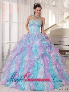 Multi-color Ball Gown Sweetheart Floor-length Organza Appliques Dramatic Quinceanera Dress