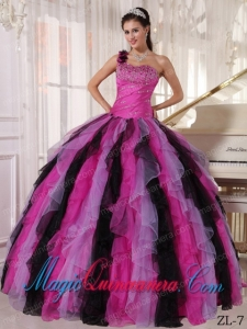 Multi-colored Ball Gown One Shoulder Floor-length Organza Beading and Ruffles Dramatic Quinceanera Dress