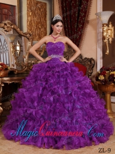 Purple Ball Gown Sweetheart Organza Cheap Quinceanera Dress with Beading