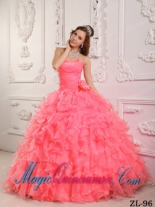 Romantic Ball Gown Sweetheart Floor-length Organza Beading Watermelon Cute Quinceanera Dress