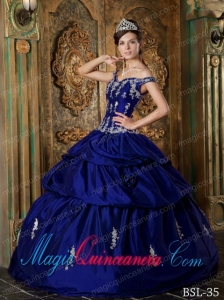 Royal Blue Ball Gown Off The Shoulder Floor-length Taffeta Appliques Cute Quinceanera Dress