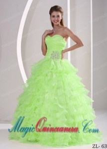 Ruffles Sweetheart Appliques and Ruching Dramatic Quinceaners Dress For Military Ball