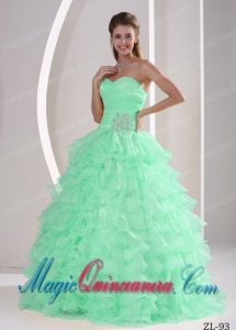 Ruffles With Appliques and Ruch Discount Quinceanera Dresses For Military Ball
