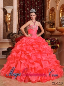 Sweet Ball Gown Strapless Beading and Appliques Quinceanera Dress in Coral Red