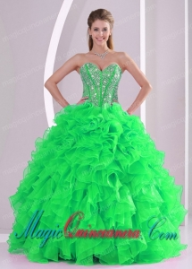 Sweetheart Ruffles and Beading Floor-length Discount Quinceanera Dresses in Sweet 16