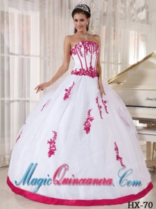 Ball Gown Strapless Floor-length Red and White Appliques Dramatic Quinceanera Dress