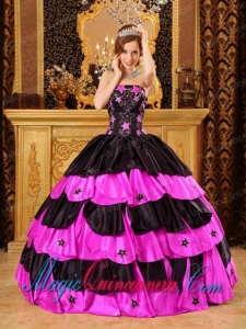 Black And Hot Pink Ball Gown Strapless Quinceanera Dress with Beading
