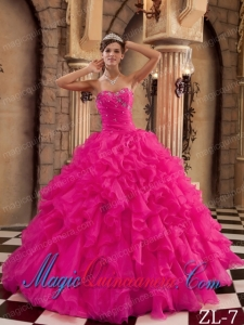 Coral Red Ball Gown Sweetheart Ruffles Organza Elegant Quinceanera Dress