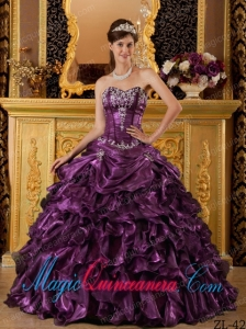 Dark Purple Ball Gown Sweetheart Floor-length Ruffles Organza Dramatic Quinceanera Dress